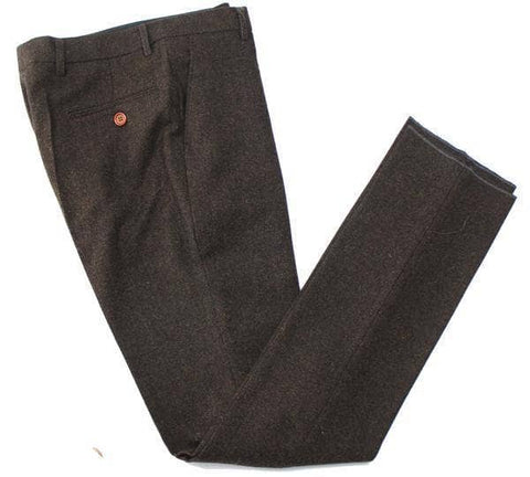 Dark Brown Herringbone Trousers