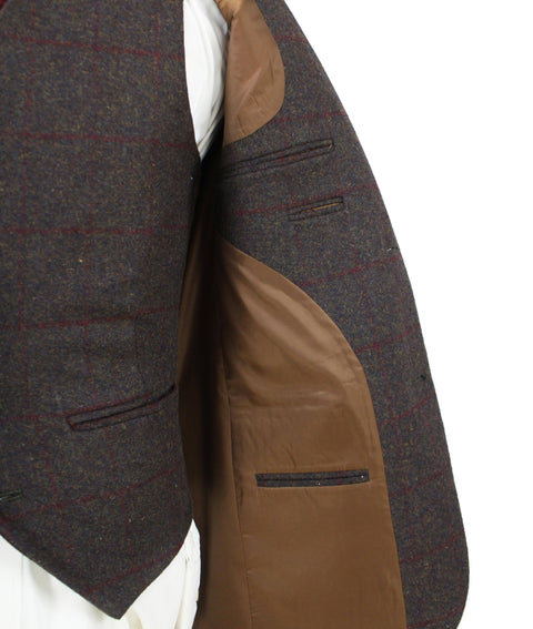 Dark Brown Red Windowpane Tweed  3 Piece Suit