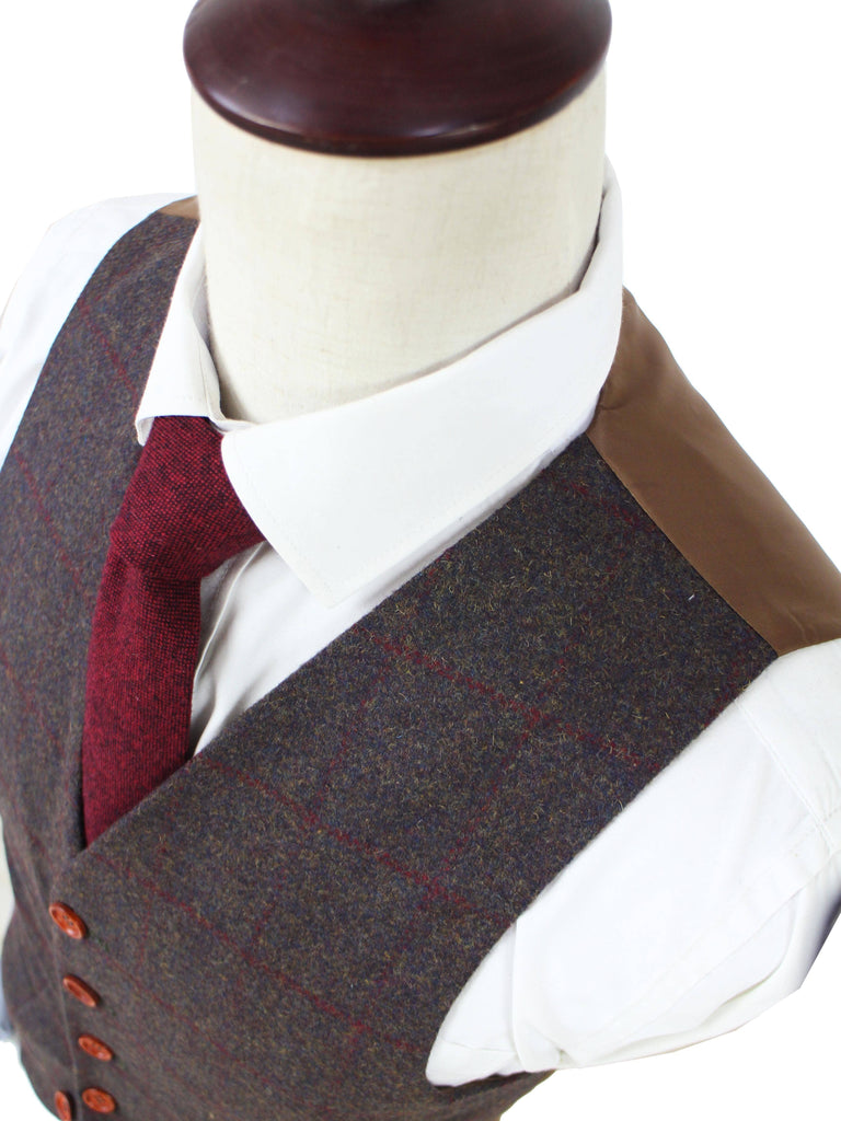 Dark Brown Red Windowpane Tweed Waistcoat