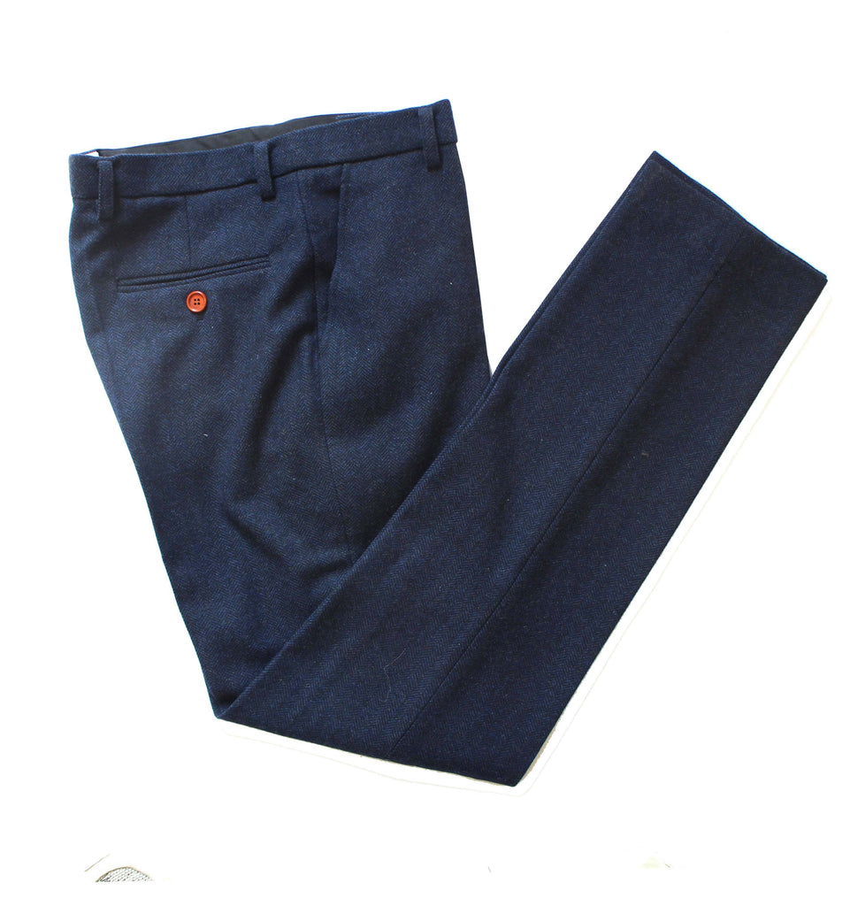 Classic Navy Barleycorn Tweed Trousers