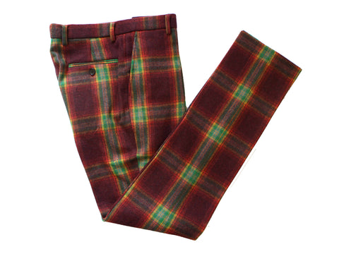 Rainbow Red Plaid Tweed Trousers