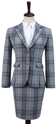 Light Grey Plaid Overcheck Tweed Jacket Womens