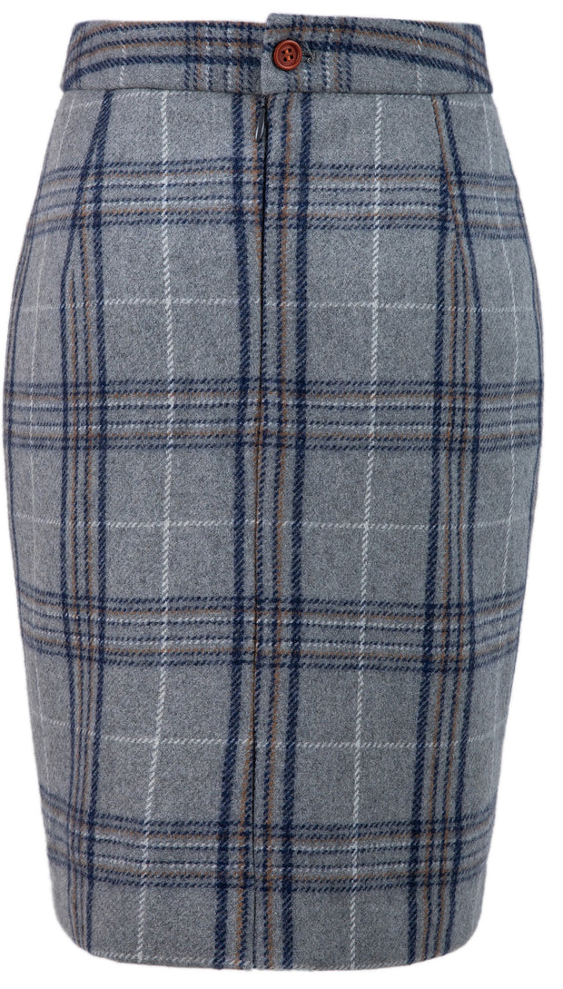 Light Grey Plaid Overcheck Tweed Skirt Womens