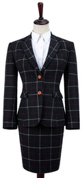 Black Tattersall Tweed Jacket Womens