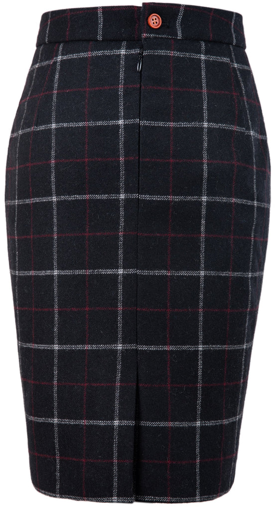 Black Tattersall Tweed Skirt Womens