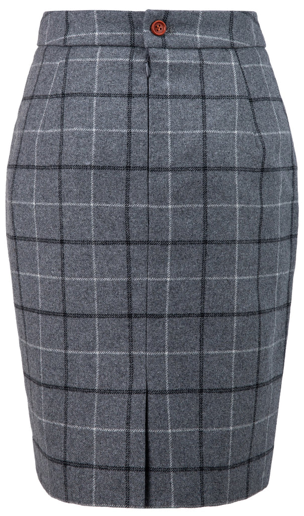 Light Grey Tattersall Tweed Skirt Womens