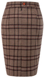 Light Brown Windowpane Plaid Tweed Skirt Womens