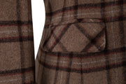 Light Brown Windowpane Plaid Tweed Jacket Womens
