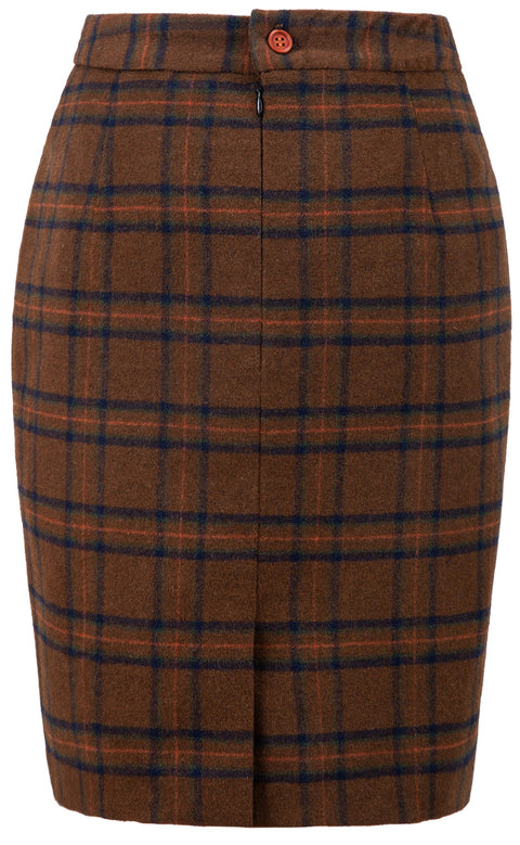 Chestnut Windowpane Plaid Tweed Skirt Womens