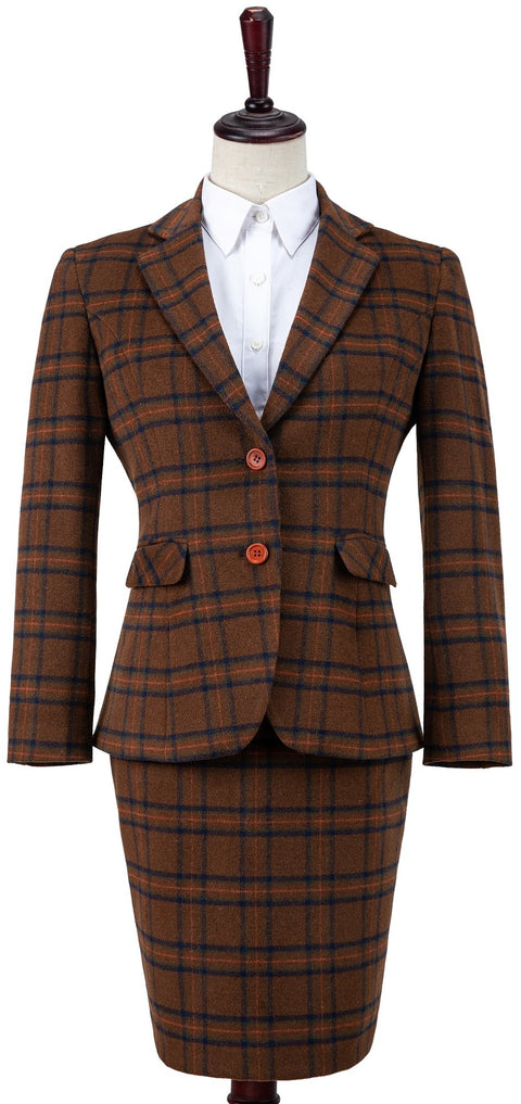 Chestnut Windowpane Plaid Tweed 3 Piece Womens