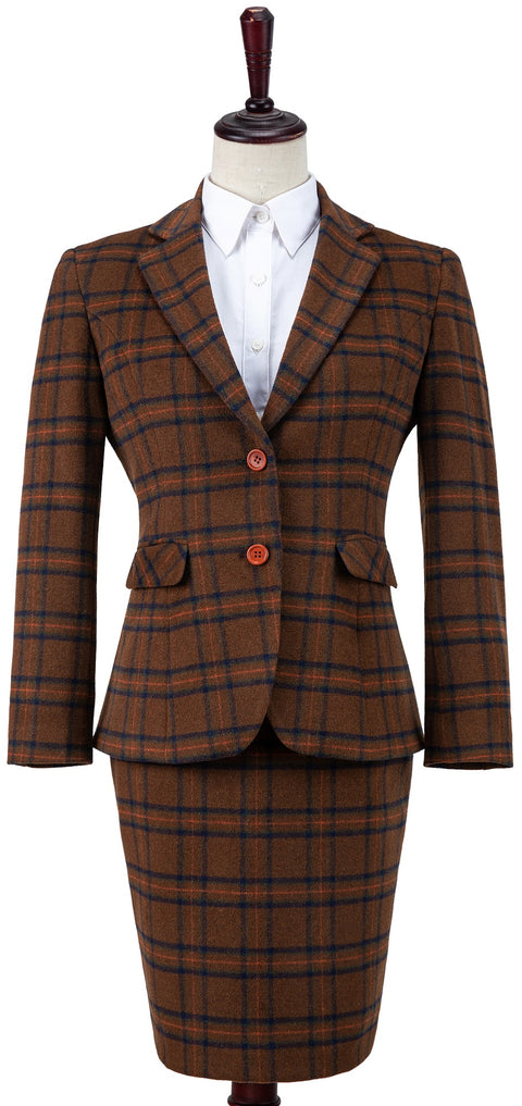 Chestnut Windowpane Plaid Tweed Jacket Womens