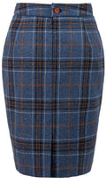 Blue Plaid Overcheck Tweed Skirt Womens