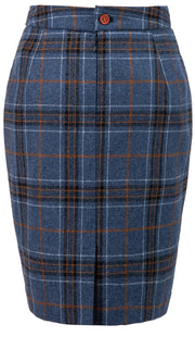 Blue Plaid Overcheck Tweed 2 Piece Womens