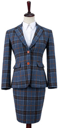 Blue Plaid Overcheck Tweed Jacket Womens