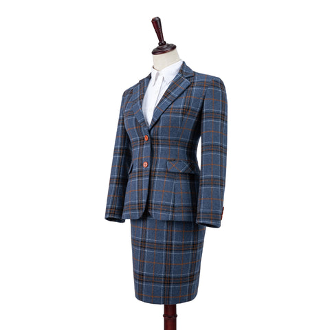 Blue Plaid Overcheck Tweed 3 Piece Womens