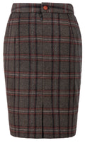 Brown Windowpane Plaid Tweed Skirt Womens