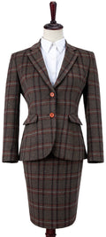 Brown Windowpane Plaid Tweed Jacket Womens