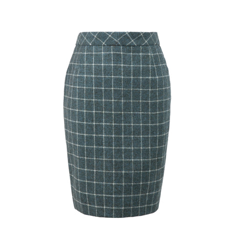 Light Green Windowpane Tweed Skirt Womens