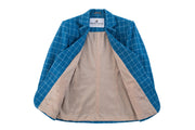 Sky Blue Windowpane Tweed Jacket Womens