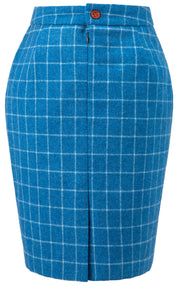 Sky Blue Windowpane Tweed Skirt Womens