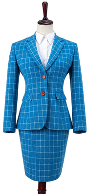 Sky Blue Windowpane Tweed 3 Piece Womens