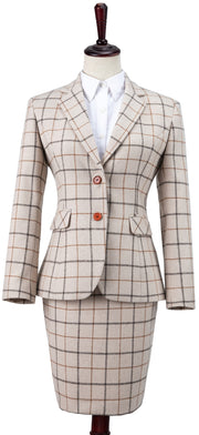 Cream Tattersall Tweed Jacket Womens