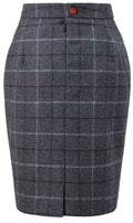 Grey Tattersall Tweed Skirt Womens