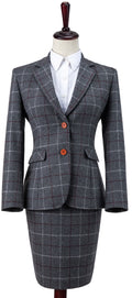 Grey Tattersall Tweed Jacket Womens