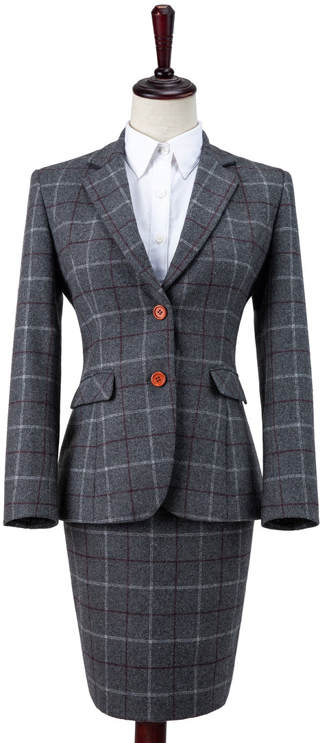 Grey Tattersall Tweed 2 Piece Womens