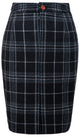 Black Plaid Overcheck Tweed Skirt Womens