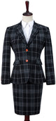 Black Plaid Overcheck Tweed Jacket Womens