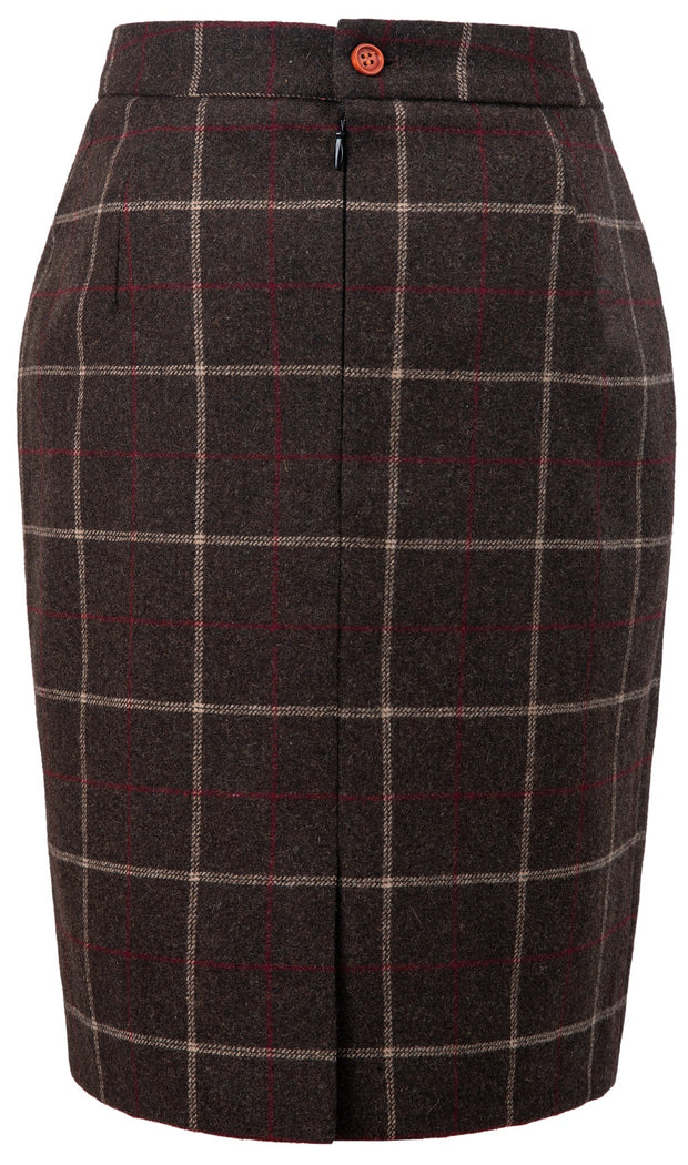 Dark Brown Tattersall Tweed 2 Piece Womens