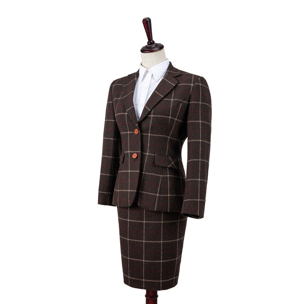 Dark Brown Tattersall Tweed Jacket Womens