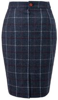 Charcoal Tattersall Tweed Skirt Womens