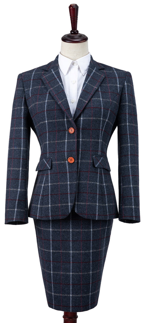 Charcoal Tattersall Tweed Jacket Womens