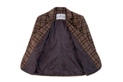 Light Brown Windowpane Plaid Tweed 3 Piece Womens