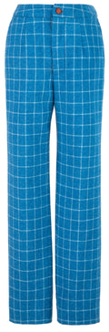 Sky Blue Windowpane Tweed Trousers Womens