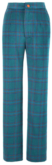 Teal Windowpane Plaid Tweed Trousers Womens