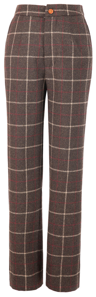 Dark Brown Tattersall Tweed Trousers Womens