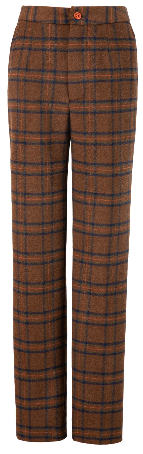 Chestnut Windowpane Plaid Tweed Trousers Womens