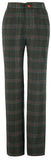 Green Windowpane Plaid Tweed Trousers Womens