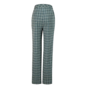 Light Green Windowpane Tweed Trousers Womens