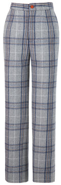 Light Grey Plaid Overcheck Tweed Trousers Womens