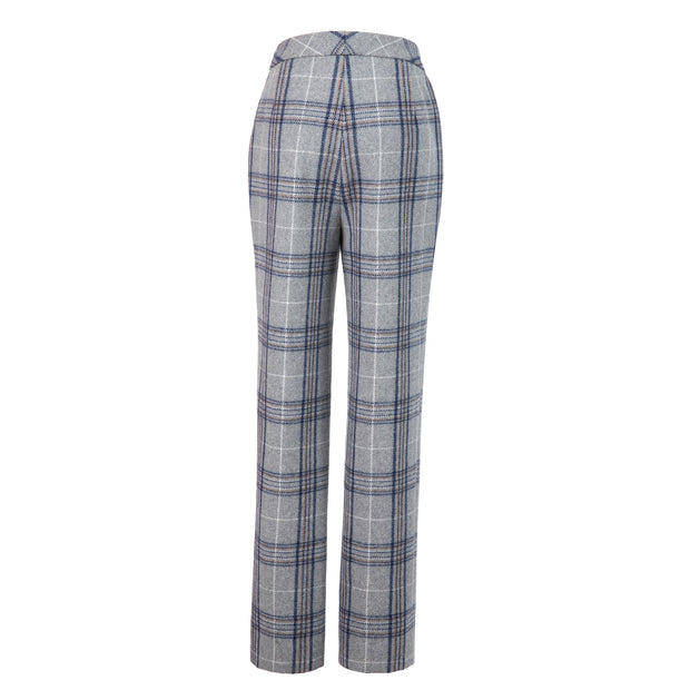 Light Grey Plaid Overcheck Tweed 3 Piece Womens