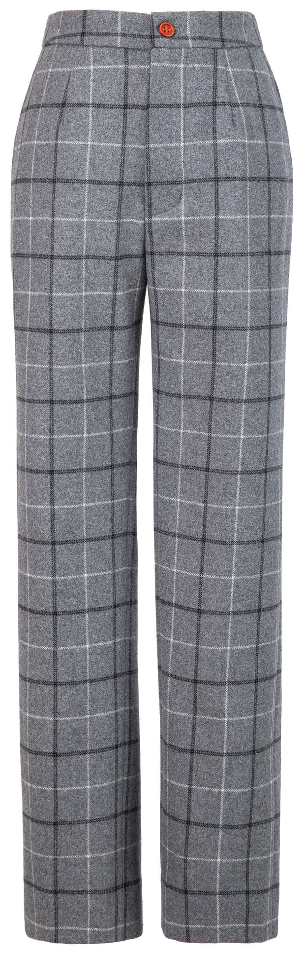 Light Grey Tattersall Tweed Trousers Womens