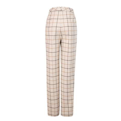 Cream Tattersall Tweed Trousers Womens