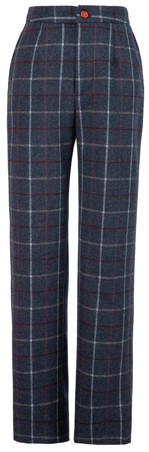 Charcoal Tattersall Tweed Trousers Womens
