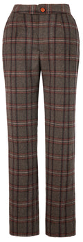 Brown Windowpane Plaid Tweed Trousers Womens