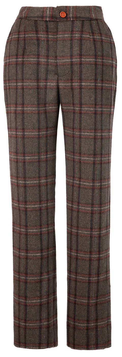 Brown Windowpane Plaid Tweed 3 Piece Womens