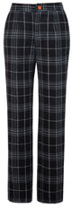 Black Plaid Overcheck Tweed Trousers Womens